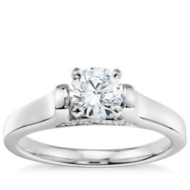 1/2 Carat Preset Truly Zac Posen Cathedral Solitaire Plus Diamond Engagement Ring in Platinum