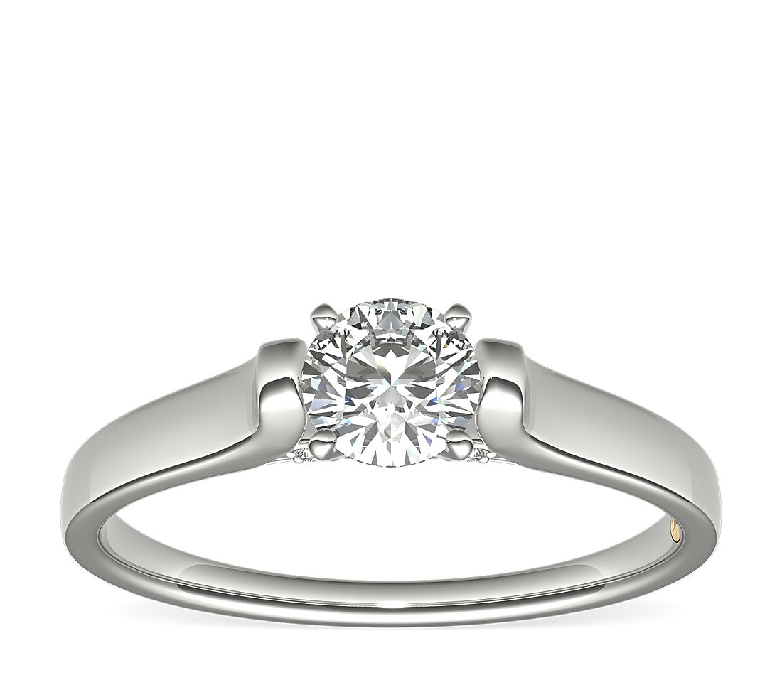 1/2 Carat Ready-to-Ship ZAC Zac Posen Cathedral Solitaire Plus Diamond Engagement Ring in Platinum