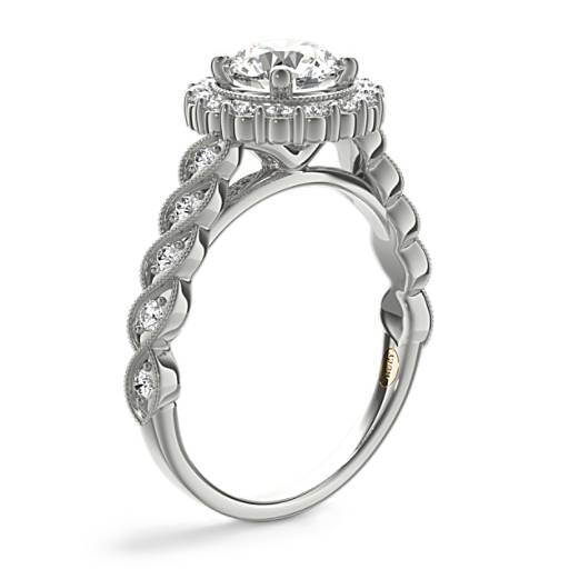 ZAC Zac Posen Milgrain Halo Diamond Twist Engagement Ring