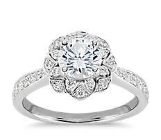 ZAC Zac Posen Scalloped Floral Halo Diamond Engagement Ring in 14k White Gold