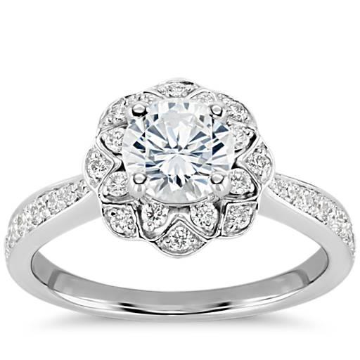Engagement Rings Zac Posen: Truly Zac Posen Scalloped Floral Halo Diamond Engagement