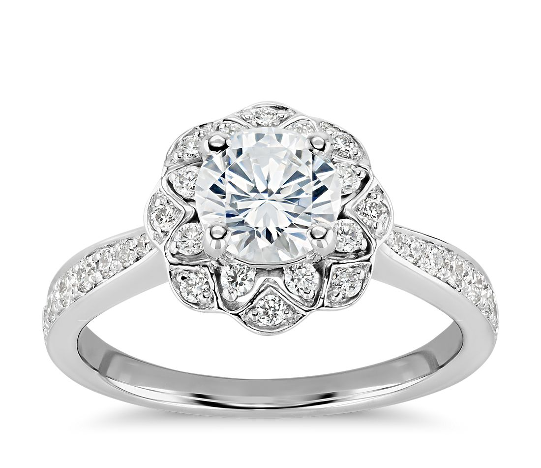 Truly Zac Posen Scalloped Floral Halo Diamond Engagement Ring in 14k White Gold (2/5 ct. tw.)