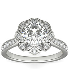 ZAC Zac Posen Scalloped Floral Halo Diamond Engagement Ring in 14k White Gold