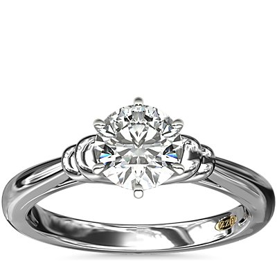 NEW ZAC Zac Posen Art Deco Tapered Shoulder Six-Claw Solitaire Engagement Ring in Platinum
