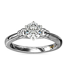 NEW ZAC Zac Posen Art Deco Tapered Shoulder Six-Prong Solitaire Engagement Ring in Platinum