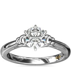 ZAC Zac Posen Art Deco Tapered Shoulder Six-Claw Solitaire Engagement Ring in Platinum