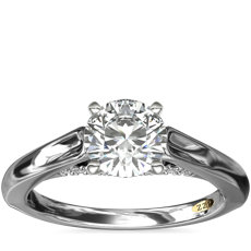 NEW ZAC Zac Posen Curved Cathedral Solitaire Engagement Ring with Diamond Bridge Detail in 14k White Gold (1/10 ct. tw.)