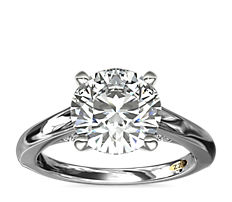 ZAC Zac Posen Curved Cathedral Solitaire Engagement Ring with Diamond Bridge Detail in 14k White Gold (1/10 ct. tw.)