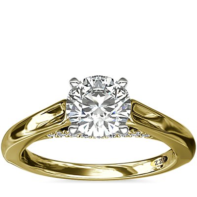 NEW ZAC Zac Posen Curved Cathedral Solitaire Engagement Ring with Diamond Bridge Detail in 14k Yellow Gold (1/10 ct. tw.)