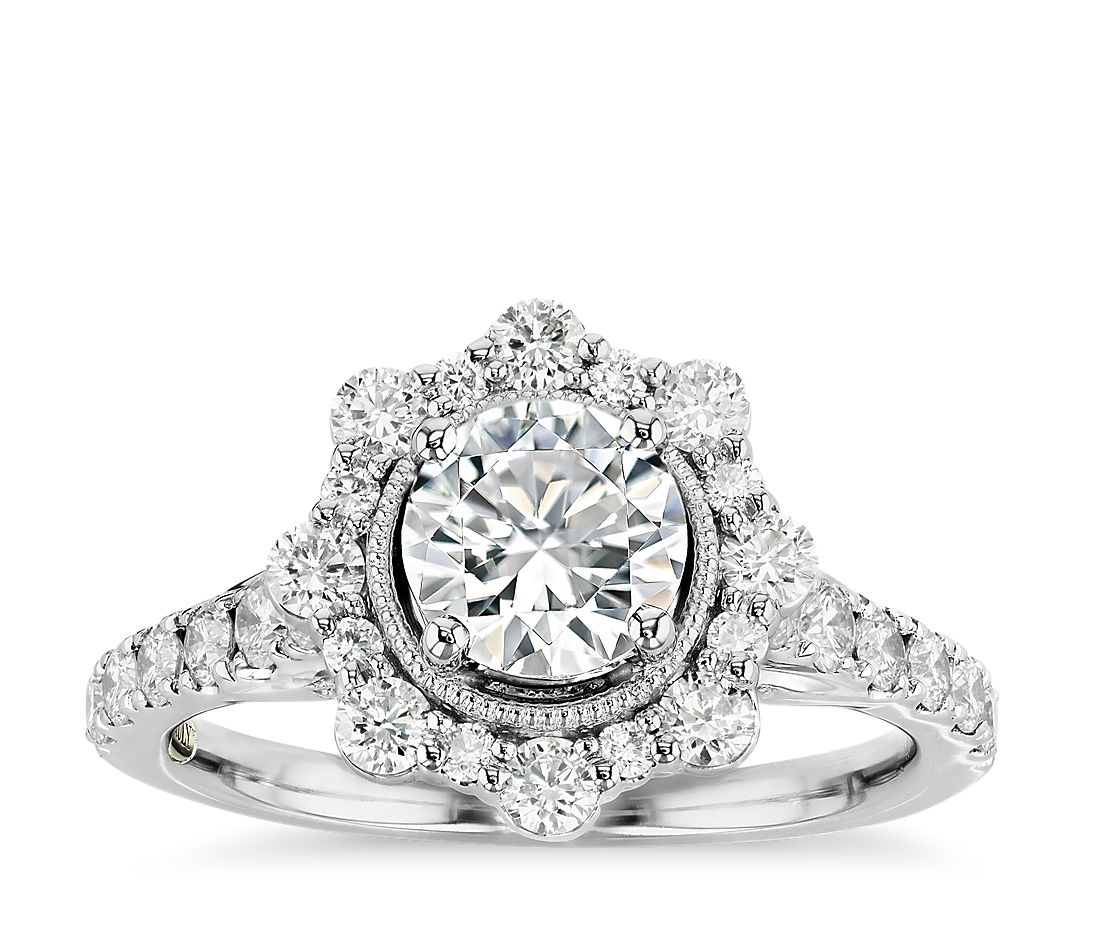 Truly Zac Posen Star Halo Diamond Engagement Ring in 14k White Gold (4/5 ct. tw.)