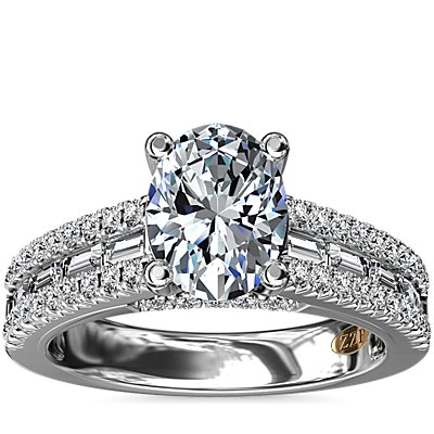 NEW ZAC Zac Posen Three Row Baguette and Round Diamond Engagement Ring in 14k White Gold (5/8 ct. tw.)