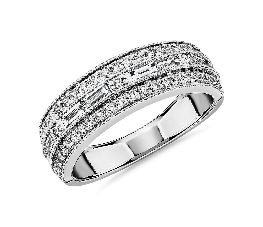 ZAC Zac Posen Triple Row East-West Baguette & Pavé Diamond Wedding Ring in 14k White Gold (3/4 ct. tw.)