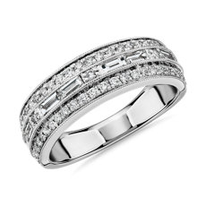 NEW ZAC Zac Posen Triple Row East-West Baguette & Pavé Diamond Wedding Ring in 14k White Gold (3/4 ct. tw.)