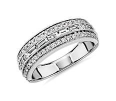 14k 白金 ZAC Zac Posen 三排横向长方形钻石和密钉钻石结婚戒指(3/4 克拉总重量)