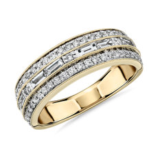 NEW ZAC Zac Posen Triple Row East-West Baguette & Pavé Diamond Wedding Ring in 14k Yellow Gold (3/4 ct. tw.)