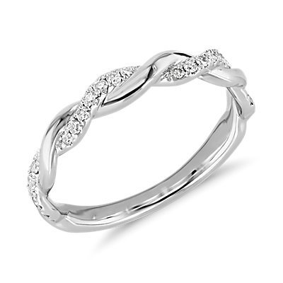 ZAC Zac Posen Twisting Diamond Ring in 14k White Gold
