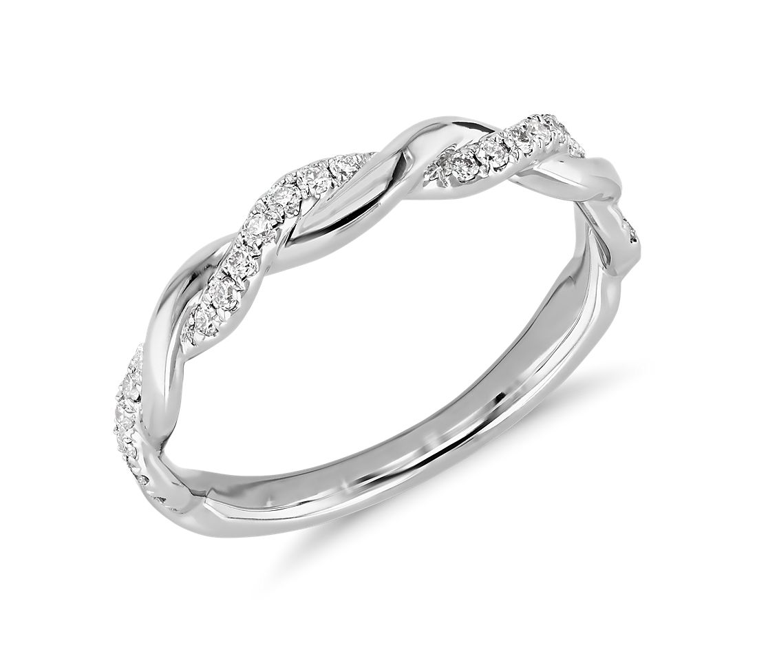 Truly Zac Posen Twisting Diamond Ring in 14k White Gold
