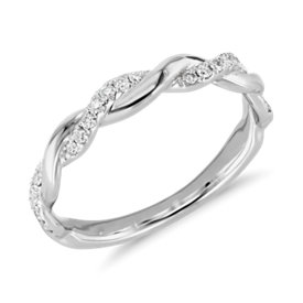 NEW Truly Zac Posen Twisting Diamond Ring in 14k White Gold (1/5 ct. tw.)