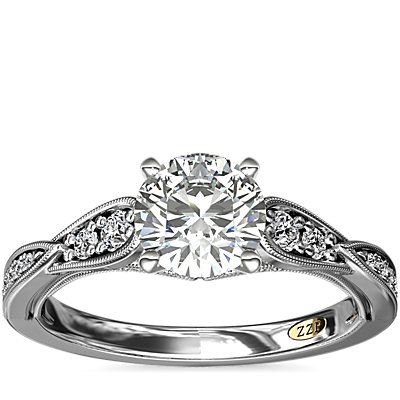 ZAC Zac Posen Vintage Milgrain Scalloped Diamond Engagement Ring in 14k White Gold (1/3 ct. tw.)