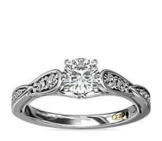 14k 白金 ZAC Zac Posen 复古锯状滚边扇形钻石订婚戒指<br>(1/3 克拉总重量)