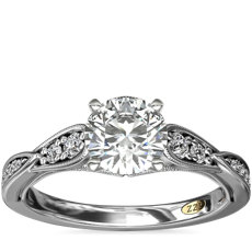 ZAC Zac Posen Vintage Milgrain Scalloped Diamond Engagement Ring in 14k White Gold