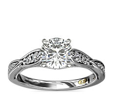 ZAC Zac Posen Vintage Milgrain Scalloped Diamond Engagement Ring in 14k White Gold
