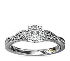 ZAC Zac Posen Vintage Milgrain Scalloped Diamond Engagement Ring in 14k White Gold (1/3 ct. tw.)