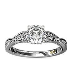 Bague de fiançailles diamant festonnée avec motif mille-grains vintage ZAC Zac Posen en or blanc 14carats