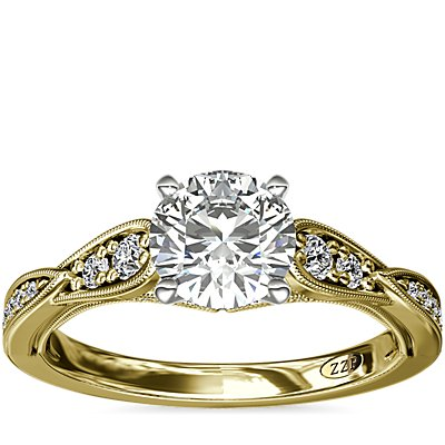 NEW ZAC Zac Posen Vintage Milgrain Scalloped Diamond Engagement Ring in 14k Yellow Gold (1/3 ct. tw.)