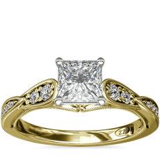 ZAC Zac Posen Vintage Milgrain Scalloped Diamond Engagement Ring in 14k Yellow Gold