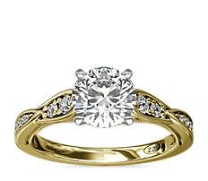 Bague de fiançailles diamant festonnée avec motif mille-grains vintage ZAC Zac Posen en or jaune 14carats