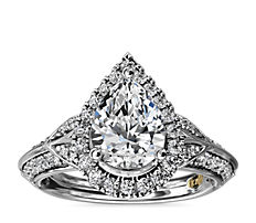 NEW ZAC Zac Posen Vintage Inspired Pear Halo Diamond Engagement Ring in 14k White Gold