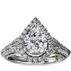ZAC Zac Posen Vintage Inspired Pear Halo Diamond Engagement Ring in 14k White Gold