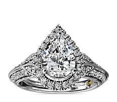 ZAC Zac Posen Vintage Inspired Pear Halo Diamond Engagement Ring in 14k White Gold