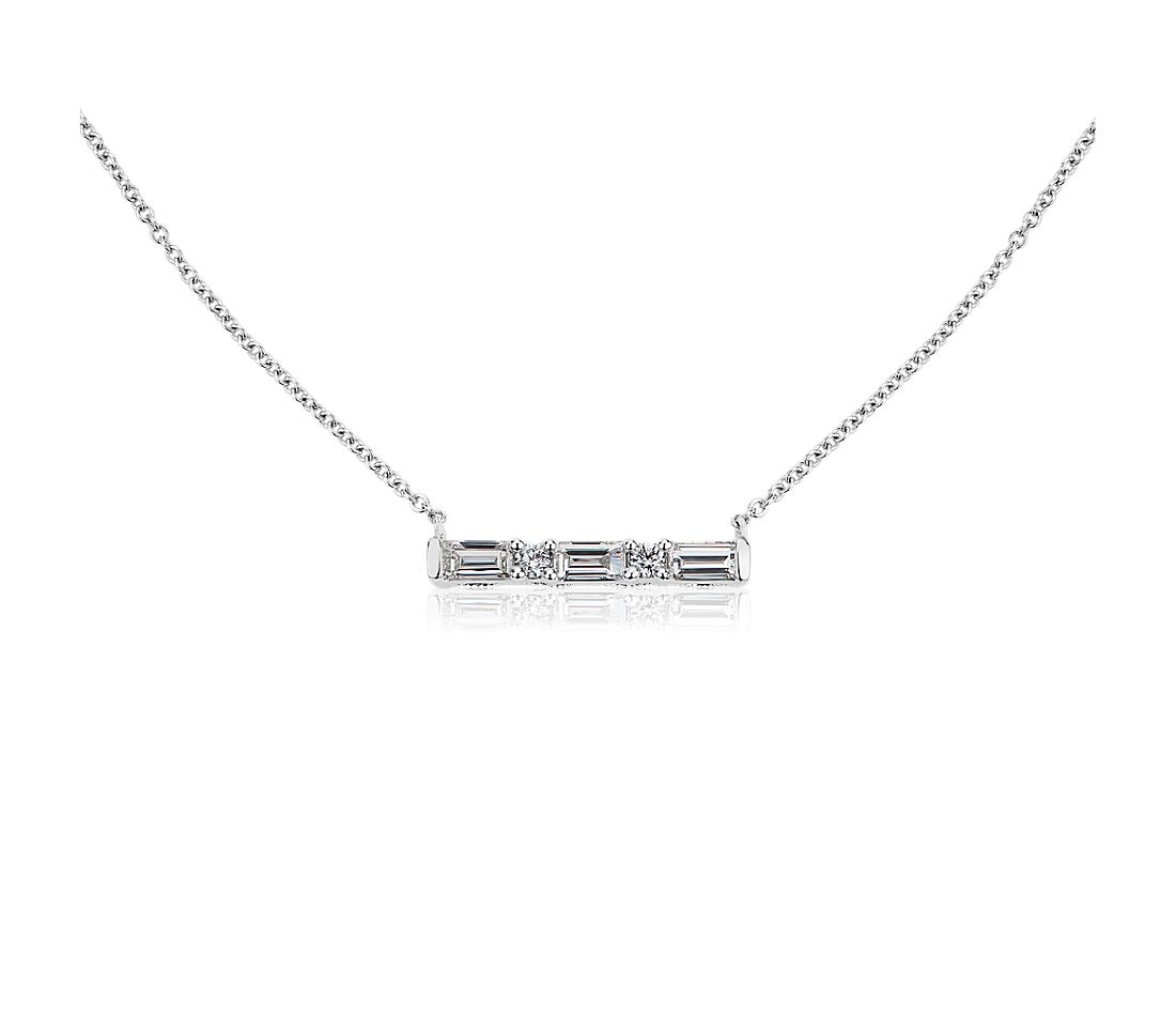 ZAC Zac Posen Alternating Baguette and Round Diamond Bar Necklace in 14k White Gold (0.34 ct. tw.)