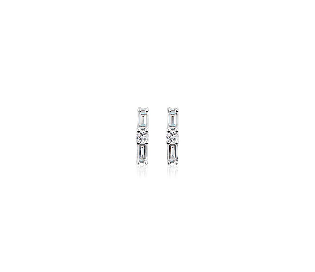 ZAC Zac Posen Baguette and Round Diamond Stud Earrings in 14k White Gold (0.23 ct. tw.)