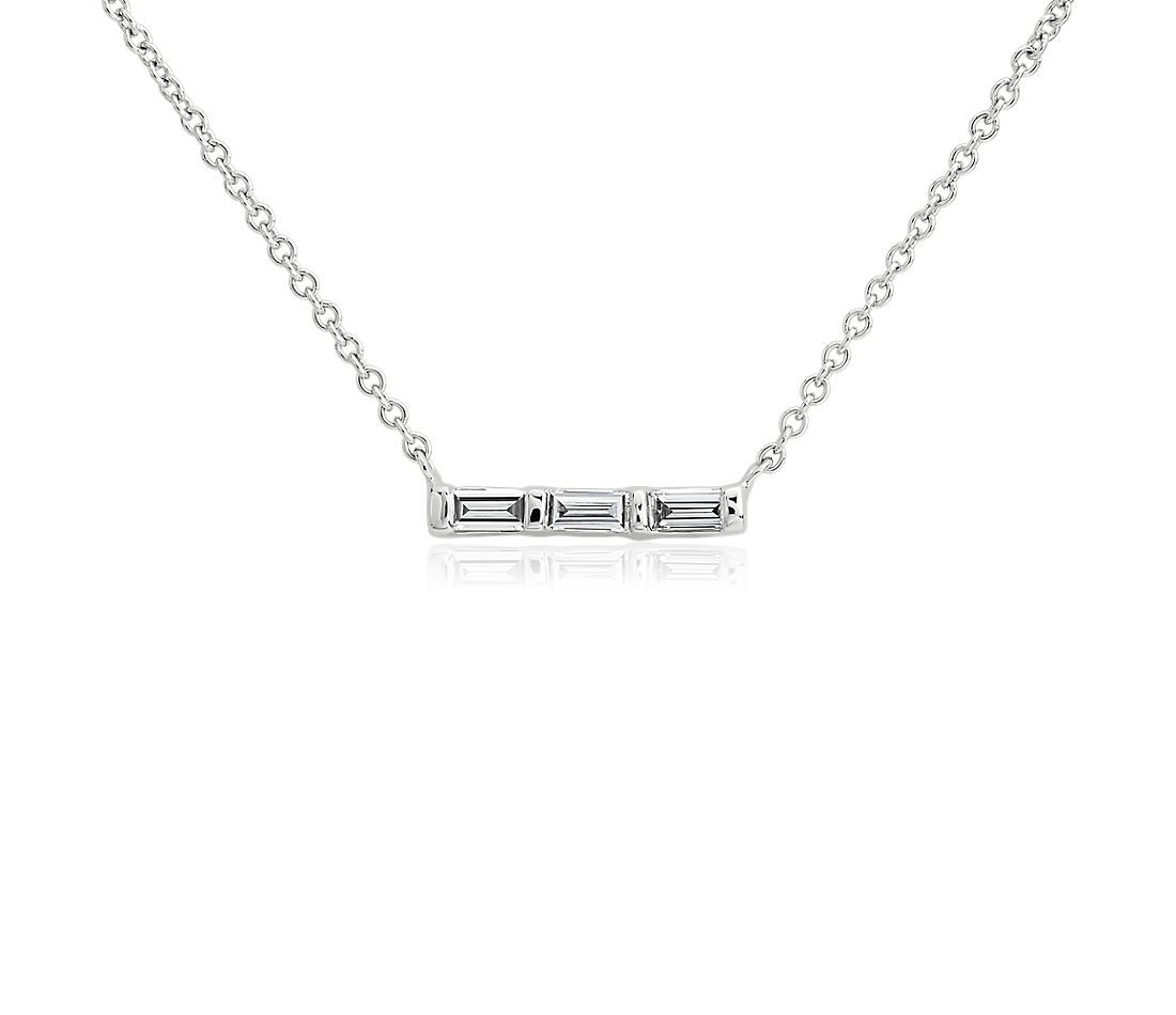 ZAC Zac Posen Diamond Baguette Bar Necklace in 14k White Gold (1/8 ct. tw.)