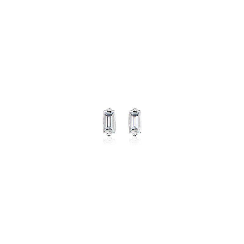 ZAC Zac Posen Diamond Baguette Stud Earrings in 14k White Gold (1