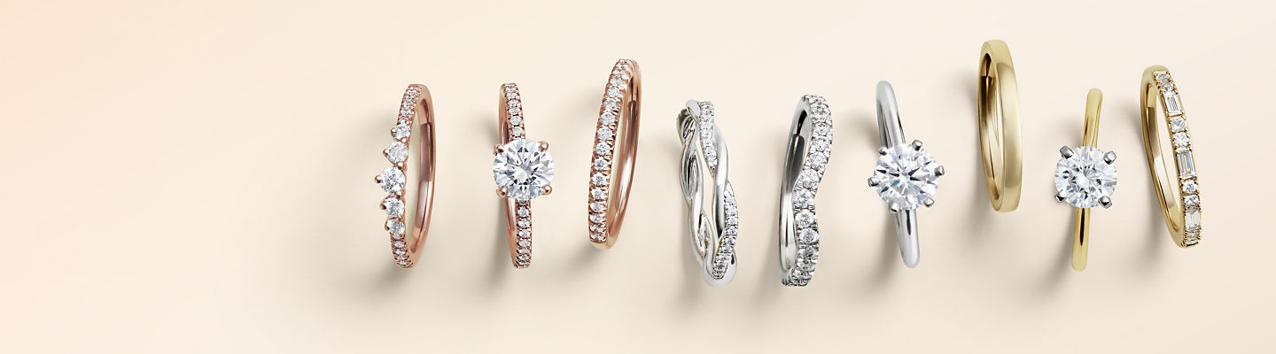 A lineup of different engagement ring styles