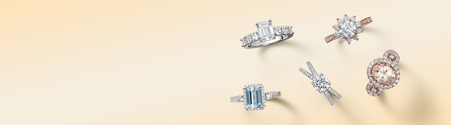 Five different engagement ring styles