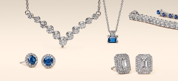 An array of diamond and diamond and sapphire jewellery.