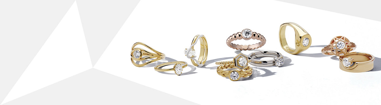 Four pairs of diamond and gemstone earrings and fashion rings