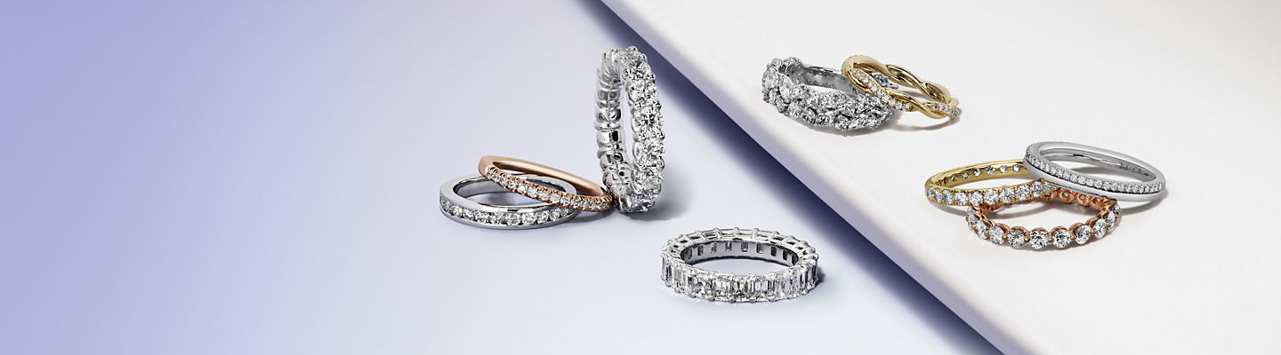An assortment of diamond and mixed metal bands