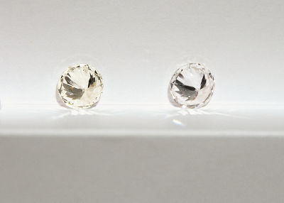 The colour difference in an H (left) versus D grade (right) diamond. Can you see the difference?
