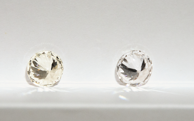 The color difference in an H (left) versus D grade (right) diamond. Can you see the difference?