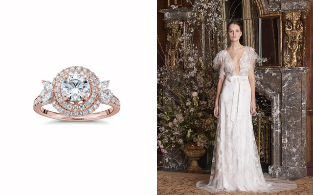 Monique Lhuillier Double Halo Engagement Ring & Amie Illusion V-neck Bridal Gown