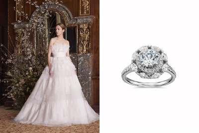 Monique Lhuillier Marquise Floral Halo Engagement Ring & Parfait Bridal Ball Gown