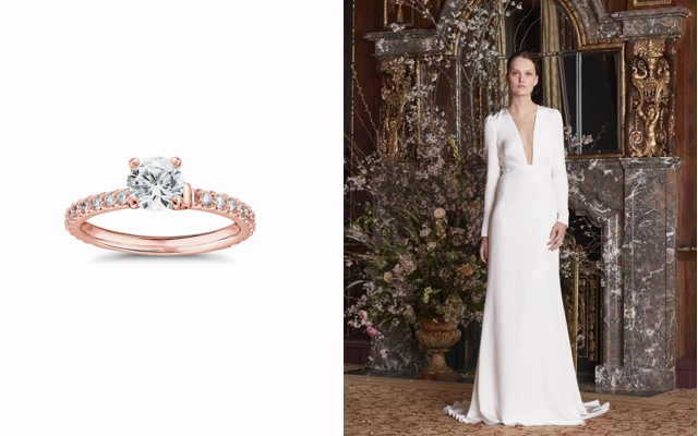 Monique Lhuillier Scalloped Pavé Diamond Engagement Ring & Caroline Sheath Bridal Gown