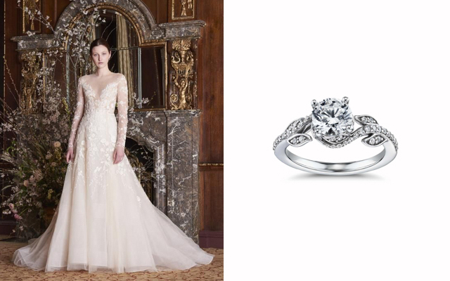 Monique Lhuillier Twisting Vine Diamond Engagement Ring & Margaret Illusion Long Sleeve Bridal Gown