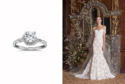 Monique Lhuillier Twist Infinity Diamond Engagement Ring & Eve Trumpet Bridal Gown